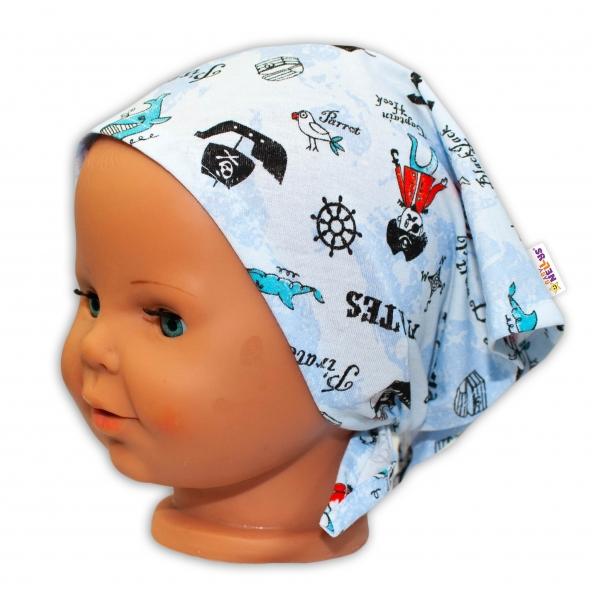 Baby Nellys Dětský šátek na zavazování Pirát - sv. modrý