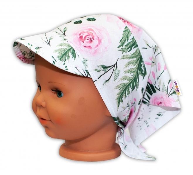 Baby Nellys Dětský šátek s kšiltem na zavazování Květy - růžový