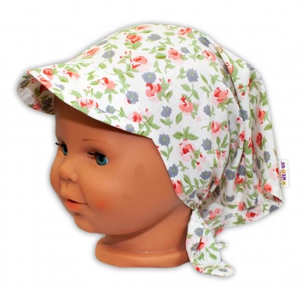 Baby Nellys Dětský šátek s kšiltem na zavazování Květinky - bílé