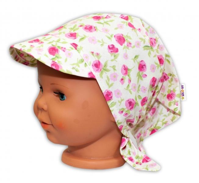 Baby Nellys Dětský šátek s kšiltem na zavazování Květinky - smetanové