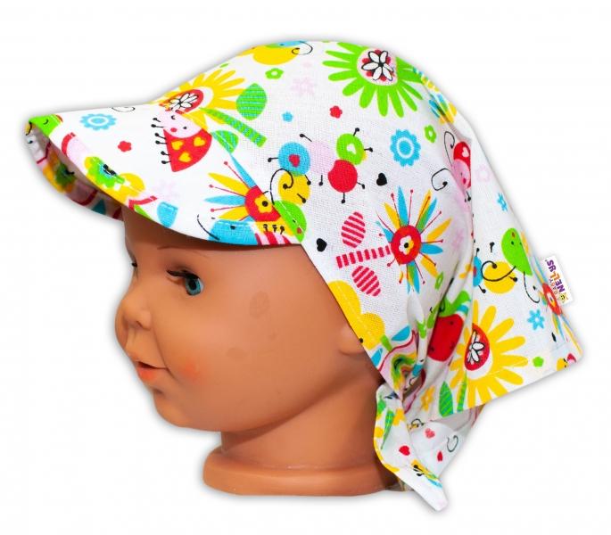 Baby Nellys Dětský šátek  s kšiltem na zavazování Louka - barevná