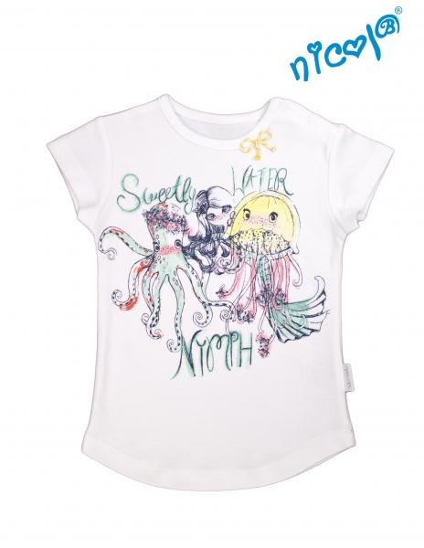 Kojeneké bavlněné tričko Nicol, Mořská víla - krátký rukáv, bílé, vel. 104vel. 104