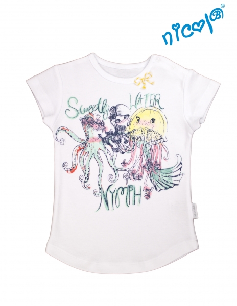 Kojeneké bavlněné tričko Nicol, Mořská víla - krátký rukáv, bílé, vel. 128