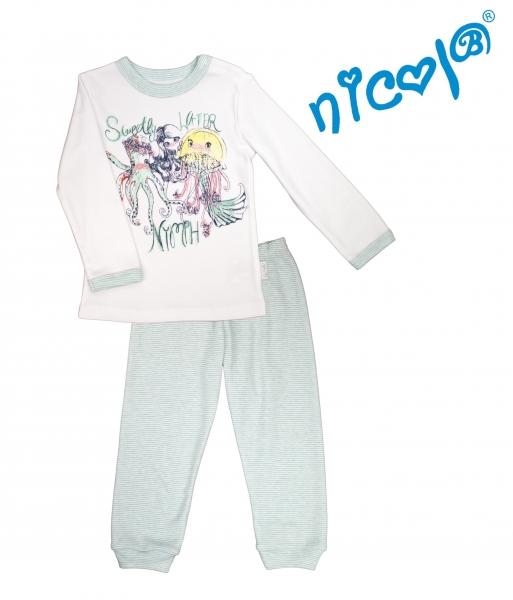 Dětské pyžamo Nicol dl. rukáv, Mořská víla - mátovo/bílé