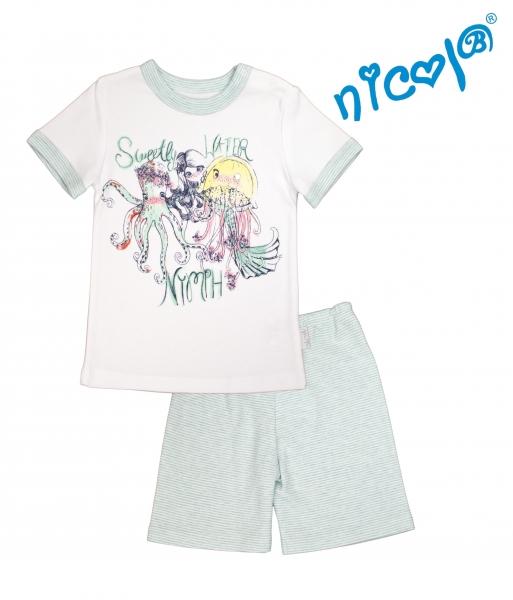 Dětské pyžamo Nicol kr. rukáv/kraťasky, Mořská víla - mátové/bílé, vel. 110