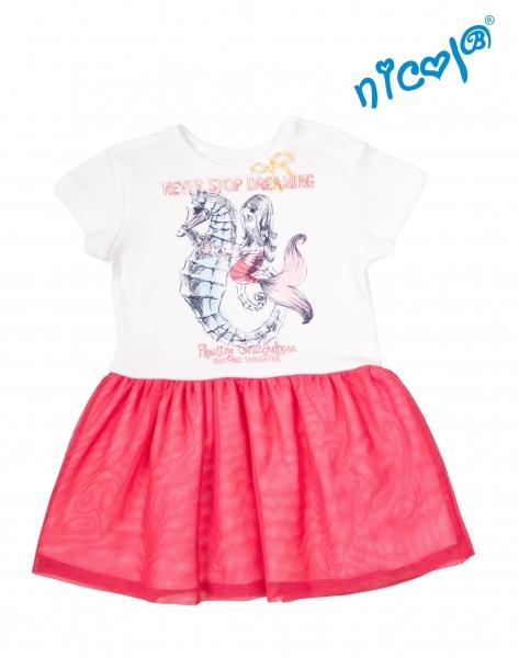 Kojenecké šaty Nicol, Mořská víla - červeno/bílé, vel. 74vel. 74 (6-9m)