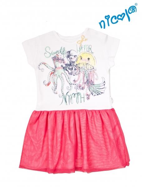Dětské šaty Nicol, Mořská víla - červeno/bílé, vel. 92