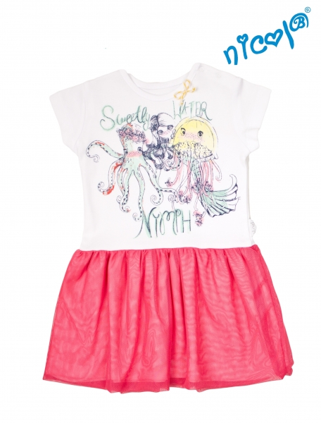 Dětské šaty Nicol, Mořská víla - červeno/bílé, vel. 98
