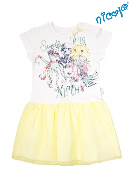 Dětské šaty Nicol, Mořská víla - žluto/bílé, vel. 92, Velikost: 92 (18-24m)