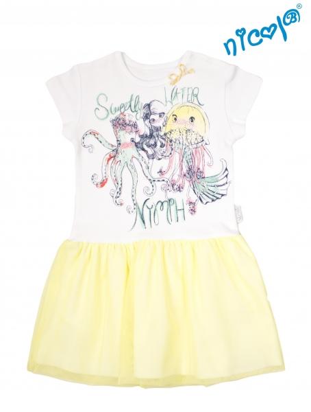 Dětské šaty Nicol, Mořská víla - žluto/bílé, vel. 128, Velikost: 128