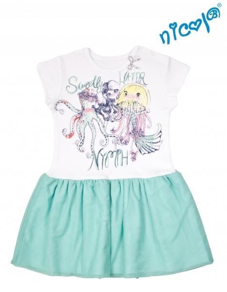 Dětské šaty Nicol, Mořská víla - zeleno/bílé, vel. 110