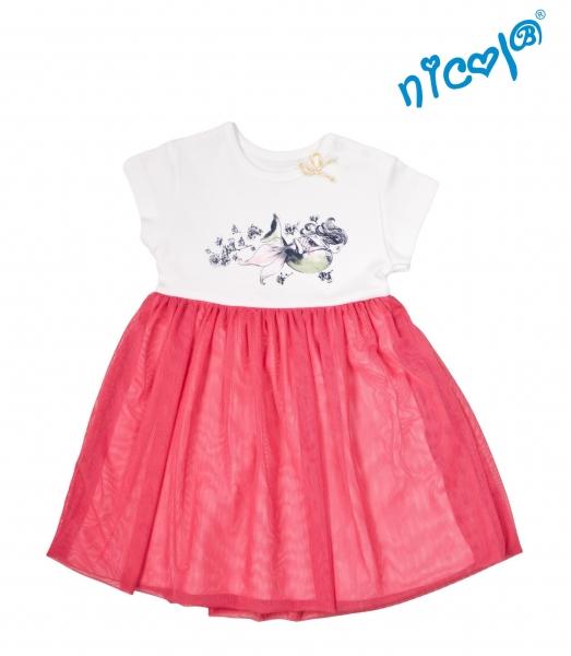 Kojenecké šaty Nicol, Mořská víla - červeno/bílé, Velikost: 56 (1-2m)