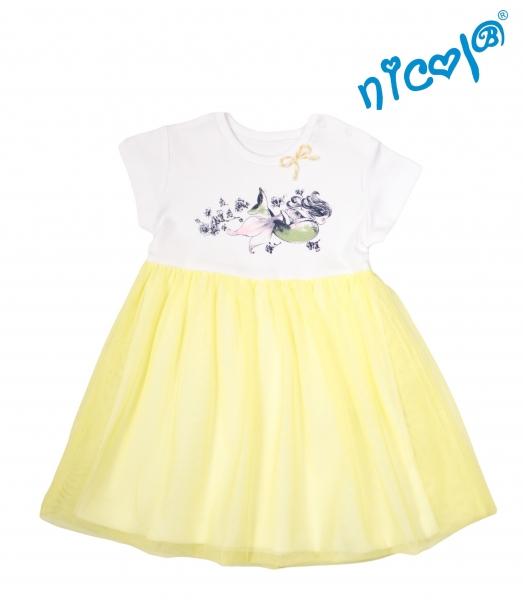 Kojenecké šaty Nicol, Mořská víla - žluto/bílé, vel. 86vel. 86 (12-18m)