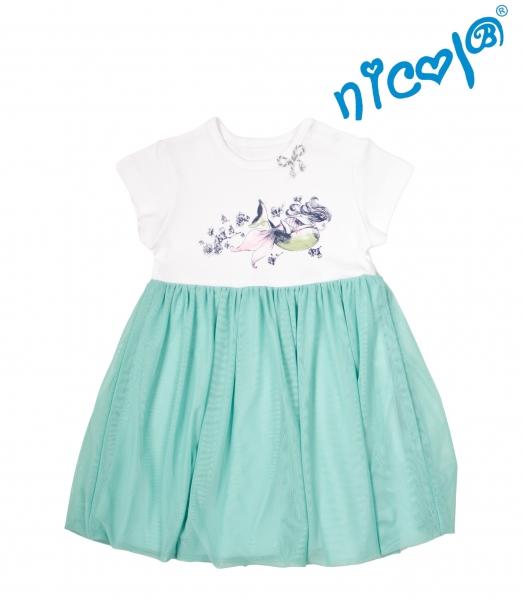 Dětské šaty Nicol, Mořská víla - zeleno/bílé, vel. 128