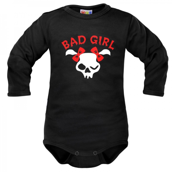 Body dlouhý rukáv Dejna Bad Girl - černé, vel. 68, Velikost: 68 (4-6m)
