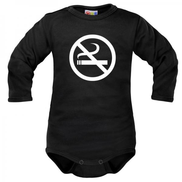 Body dlouhý rukáv Dejna No Smoking - černé, vel. 74