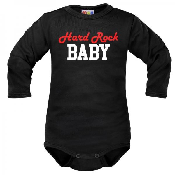 Body dlouhý rukáv Dejna Hard rock Baby - černé, vel. 80, Velikost: 80 (9-12m)