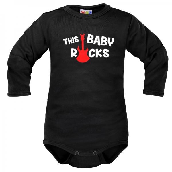 Body dlouhý rukáv Dejna This Baby Rocks - černé, vel. 80