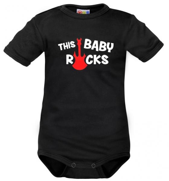 Body krátký rukáv Dejna This Baby Rock - černé, vel. 80, Velikost: 80 (9-12m)