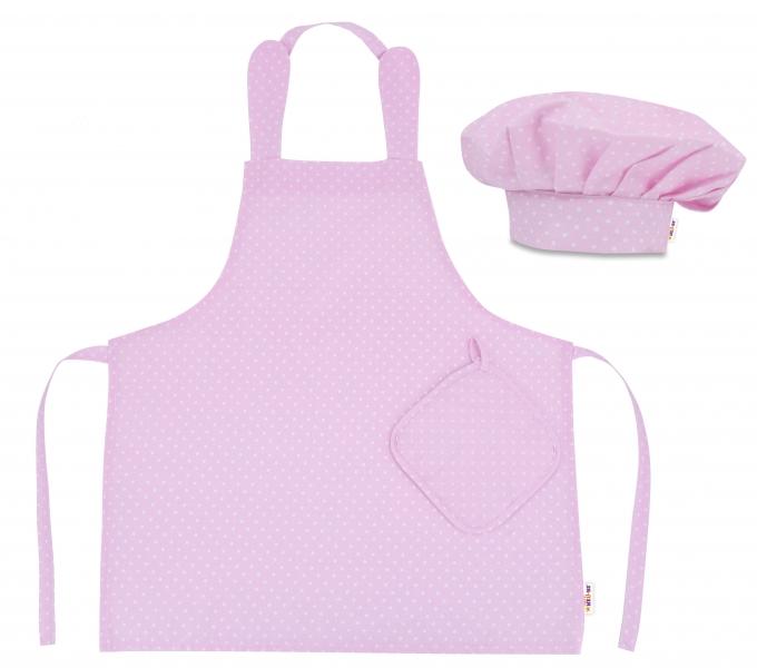 Kuchařská sada Junior MasterChef - zástěra + čepice + rukavice, růžová/bílé tečky