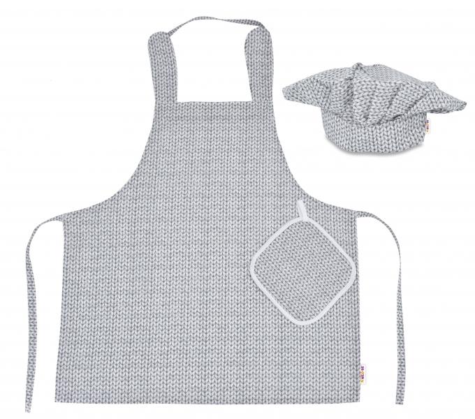 Kuchařská sada Junior MasterChef - zástěra + čepice + rukavice, šedá/svetříkový vzor
