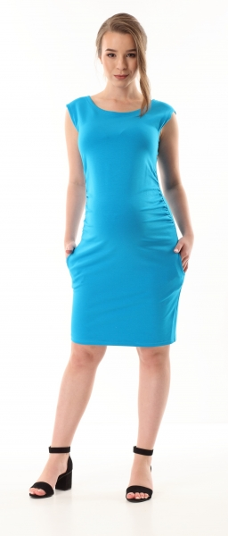 Gregx Elegantní těhotenské šaty bez rukávů  - tyrkysové, vel. M/L
