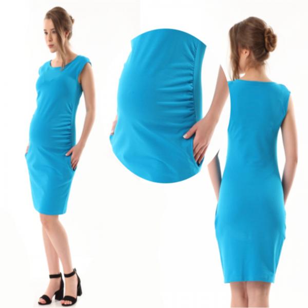 Gregx Elegantní těhotenské šaty bez rukávů  - tyrkysové, vel. XXXL