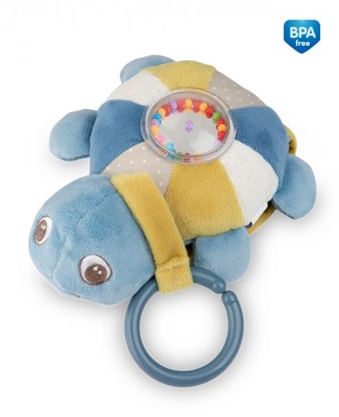 Závěsná plyšová svítící hračka s melodii a chrastítkem Canpol Babies Želva - modrá