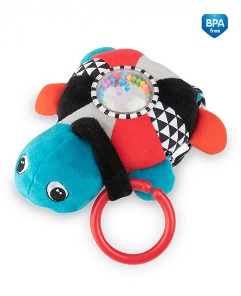 Závěsná plyšová svítící hračka s melodii a chrastítkem Canpol Babies Želva - červená