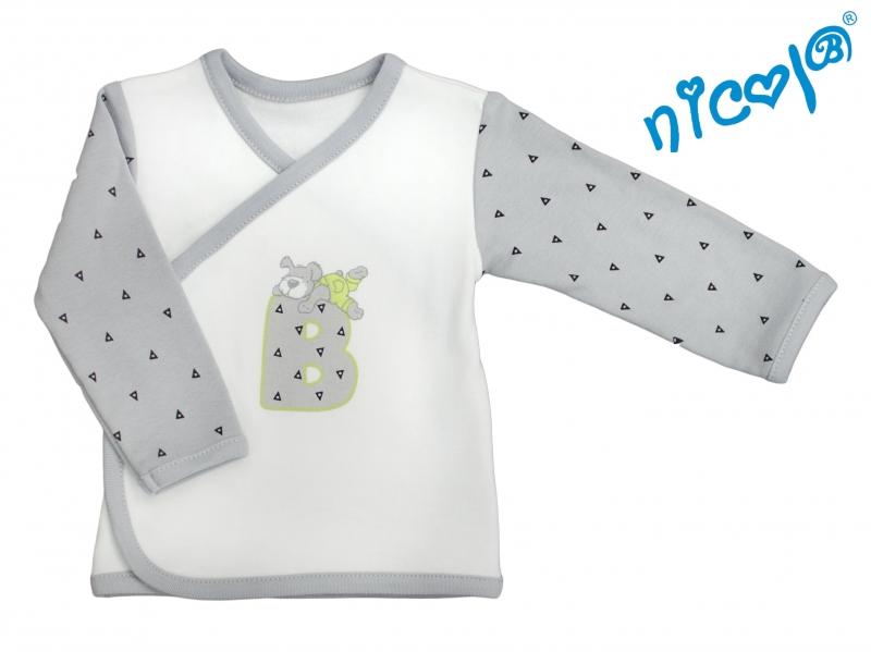 Novorozenecká bavlněná košilka Nicol, Boy - zapínání bokemvel. 52
