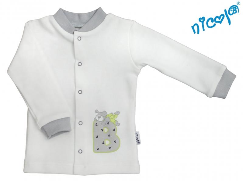 Novorozenecká bavlněná košilka Nicol, Boy  - smetanová/šedável. 52 (0-1m)