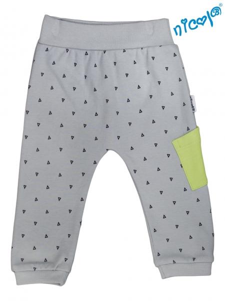 Kojenecké bavlněné tepláky Nicol, Boy - šedé, vel. 56vel. 56 (1-2m)