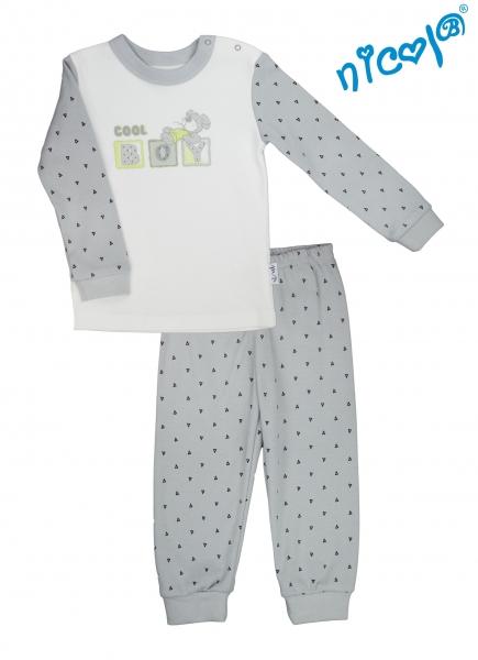 Kojenecké pyžamo Nicol, Boy - šedé/smetanová