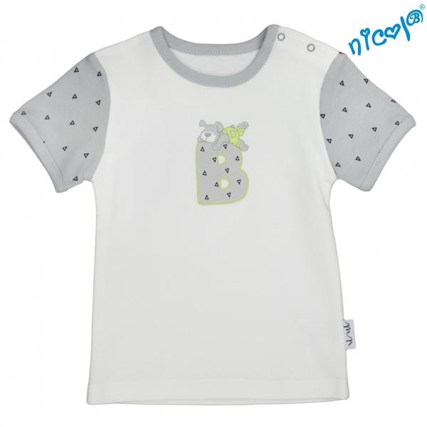 Kojenecké bavlněné tričko Nicol, Boy - krátký rukáv, šedé/smetanová, Velikost: 56 (1-2m)