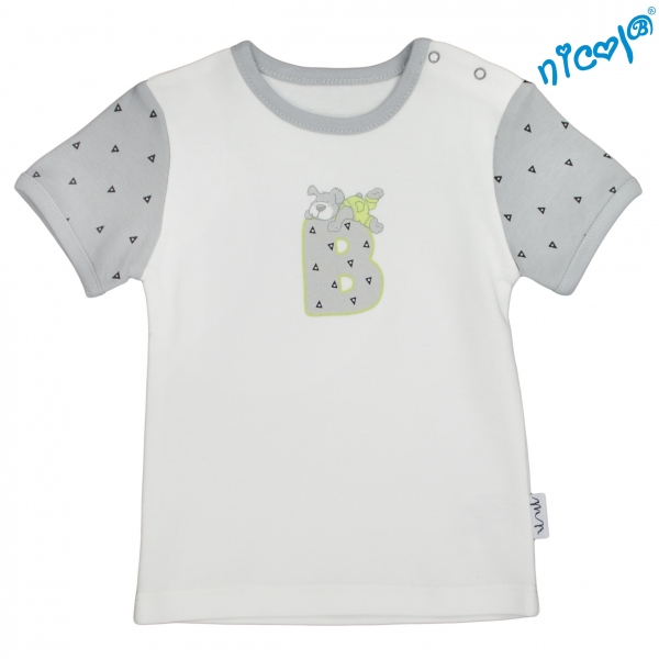 Kojenecké bavlněné tričko Nicol, Boy - krátký rukáv, šedé/smetanová, vel. 74