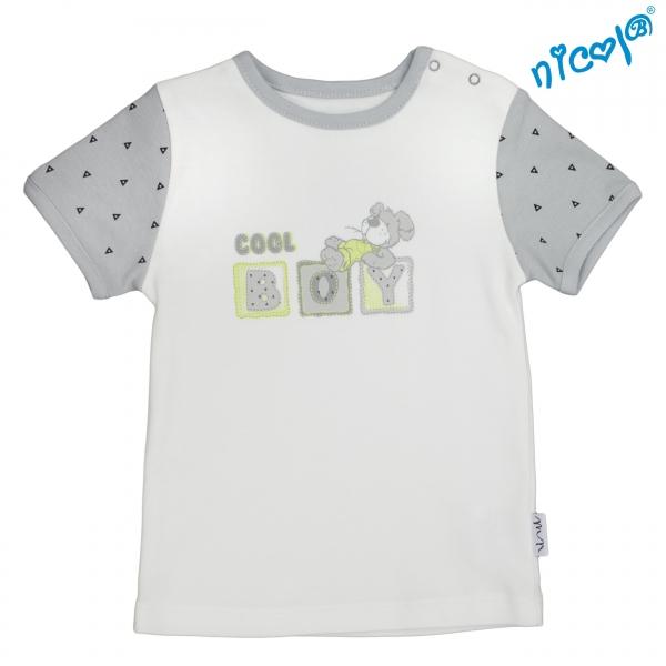 Dětské bavlněné tričko Nicol, Boy - krátký rukáv, šedé/smetanová, vel. 92