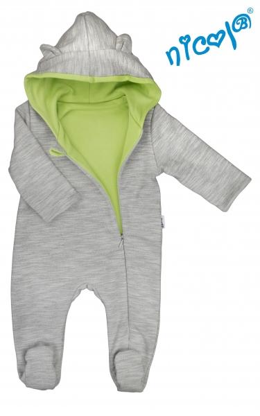Kojenecký overal/kombinéza Nicol s kapucí, oteplený, Boy - šedo/zelený