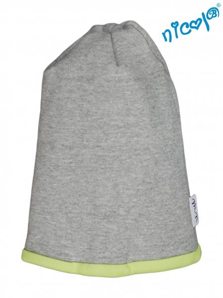 Dětská čepice Nicol, Boy - šedá/zelený lem, vel. 104/116vel. 104/116