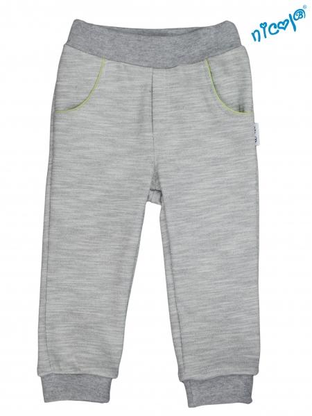 Kojenecké bavlněné tepláky, kalhoty Nicol, Boy - šedé, vel. 74vel. 74 (6-9m)