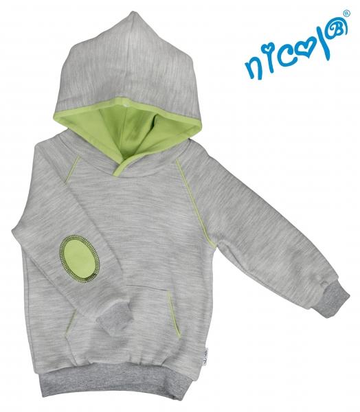Mikina s kapucí Nicol, Boy - šedá/zelená, Velikost: 86 (12-18m)