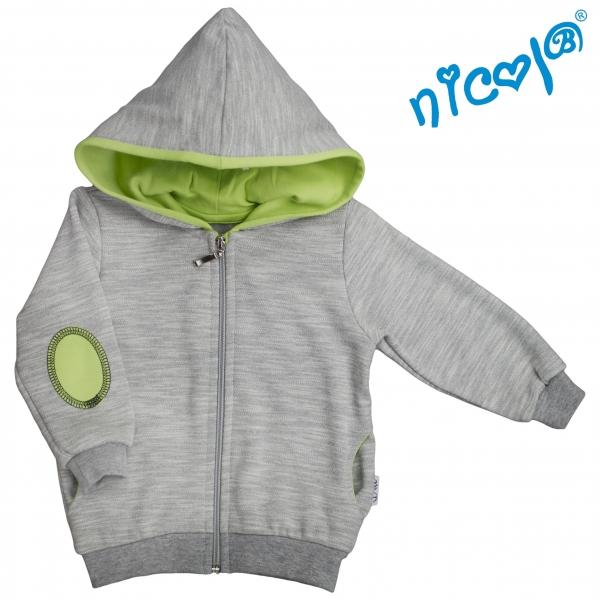 Mikina s kapucí Nicol, zapínání na zip, Boy - šedá/zelená, vel. 86