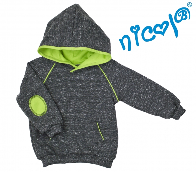 Mikina s kapucí Nicol, Boy - grafit/zelená, vel. 92