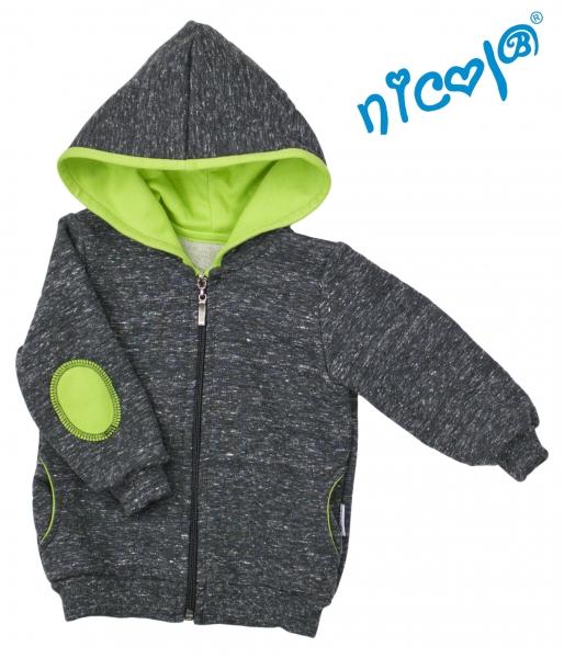 Mikina s kapucí Nicol, zapínání na zip, Boy - grafit/zelená, vel. 86
