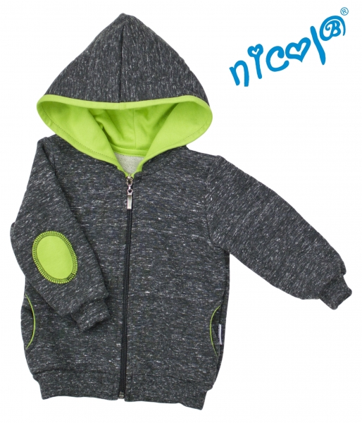 Mikina s kapucí Nicol, zapínání na zip, Boy - grafit/zelená, vel. 92vel. 92 (18-24m)