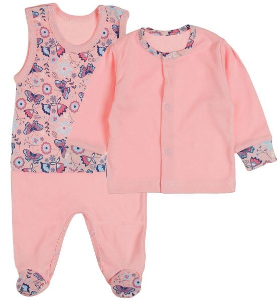MBaby 2 - dílná soupravička košilka + dupačky Motýlci - růžová, vel. 68