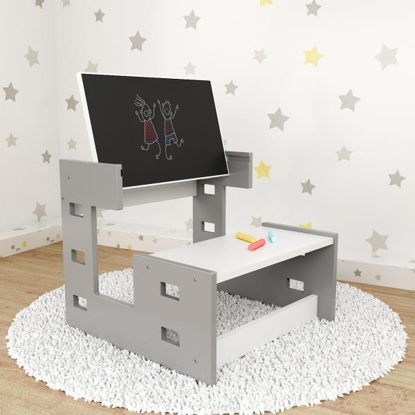 Nellys dřevěný multifunkční stolek s tabulí 2v1 - šedý