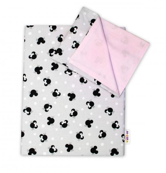 2-dílné bavlněné povlečení Baby Nellys - Minnie, šedá/růžová, 135 x 100, Velikost: 135x100