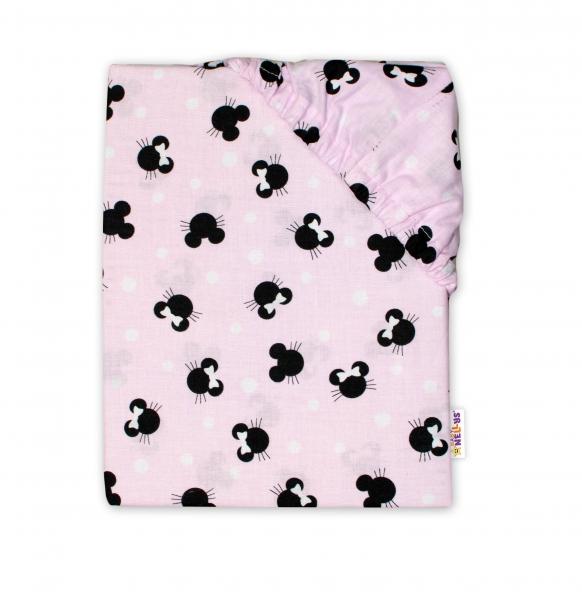 Baby Nellys Dětské bavlněné prostěradlo do postýlky - Minnie, růžová, 140 x 70
