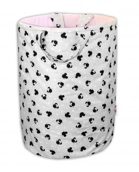 Bavlněný koš na hračky Baby Nellys, Minnie  - šedá/růžová