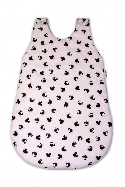 Bavlněný spací vak Baby Nellys, Minnie, 70 cm - růžový/šedý